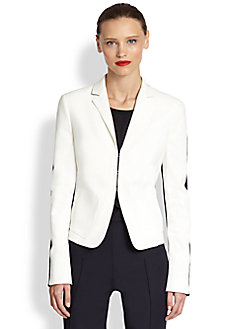 white/navy jacket