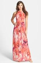 Eliza J Flora Print Chiffon Maxi Dress