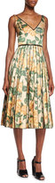 Marc Jacobs V-Neck Floral Ikat Fit-And-Flare Dress